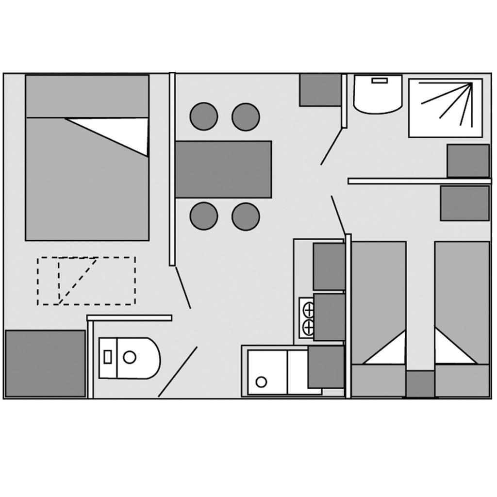 Plan du mobil-home Modulo sans terrasse