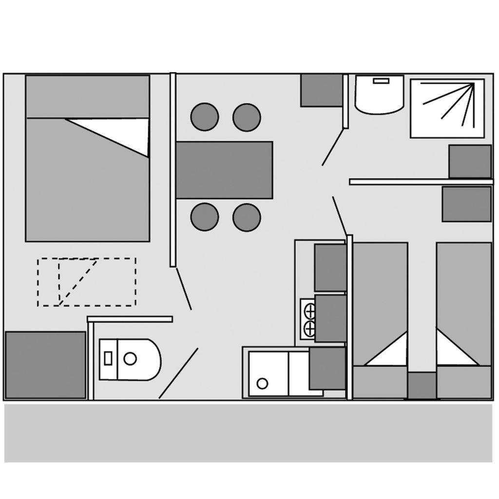 Plan du mobil-home Modulo avec terrasse